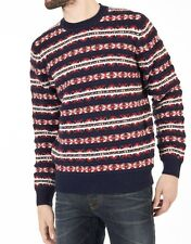 Tommy Hilfiger Harry Fairisle Crew Neck Sweater, marino, rojo y blanco, grande