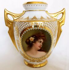 19th Century Royal Vienna Hand Painted Porcelain Two Handle Jeweled Vase