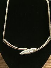 NWOT Authentic Rachel Zoe Yellow Gold Plated Necklace w/ Clear Swarovski Crystal