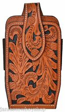 3D LEATHER WESTERN FLORAL TOOLED 6 3/4 INCH LARGER SMART PHONES CASE SADDLE TAN
