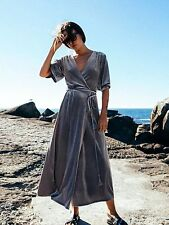 ZARA NEW CROSSOVER VELVET MIDI MAXI LONG DRESS PEARL GREY SIZE M UK 10