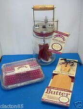 KILNER HOMEMADE BUTTER CREAM MAKING KIT CHURNER PADDLES DISH JAR