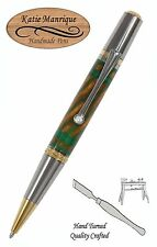 Regulus Ball Point in Green & Gold Acrylic with Black Titanium & Gold / #454