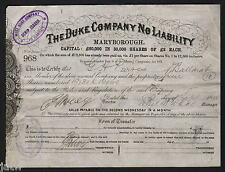 Share Scrip- Gold Mining. 1888 The Duke Company N/L.. Maryborough Vic