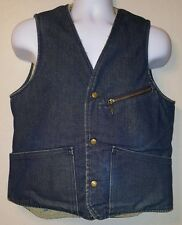 Vintage Mens Size S Carter's Watch The Wear Blue Denim Sherpa Vest Lebanon NH
