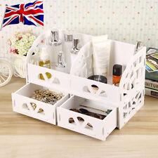 Royaume-uni diy en bois bureau organier petit objests cosmétiques boîte de rangement (avec deux tiroirs