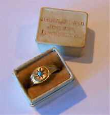 Antique 10K Gold Turquoise Baby Ring Original Box D.B. Ryland Lynchburg VA