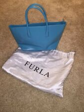 Vintage Furla Tote *Almost Mint Condition* Teal Leather W/ Dustbag