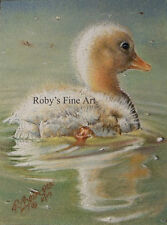 """Duckling Art Print """"Wait For Me"""" 5x7 Giclee Image by Realism Artist Roby Baer"""