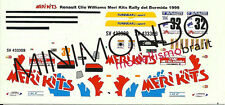 DECALS RENAULT CLIO WILLIAMS RALLY DEL BORMIDA 1999 RIVA 1/43 MERI KITS MS053