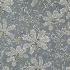 Robert Allen Indienne Ink mineral Gray tropical Floral Upholstery Drapery Fabric