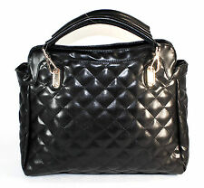 BLACK Quilted PU Pleather Lady Tote Bag Shoulder Bag Handbag!