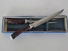 VINTAGE HOLLOW GROUND STAINLESS STEEL 2 PIECE CARVING KNIFE AN FORK SET