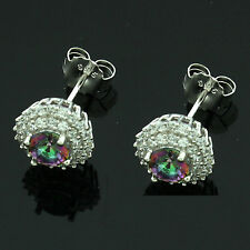 Sterling Silver Cubic Zirconia Micro Pave Set Mystic Topaz Earrings