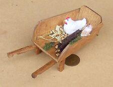 1:12 Escala de madera rueda barrow Casa de Muñecas en Miniatura Accesorio De Jardín + pollo