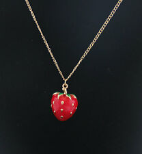 Gold Plated Lovely Glossy Red Strawberry  Pendant Necklace X0540