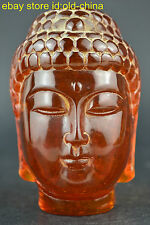 China Collectible Decorate Handwork Old Amber Carve Buddha Head Devout Statue