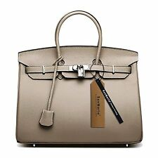 SanMario Designer Handbag Womens Top Handle Leather Bag with Silver Hardware and