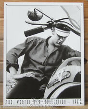Elvis on vtg Motorcycle TIN SIGN metal wall decor b/w photo poster harley 948