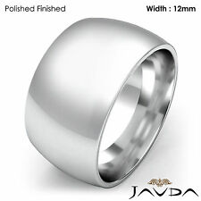 Heavy Men's 12mm Solid 18k Gold White Plain Dome Wedding Band Ring 19.4gm 8-8.75