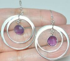 Purple AMETHYST in BIG Hoop, 925 Sterling SILVER Earring Earrings NEW Jewellery