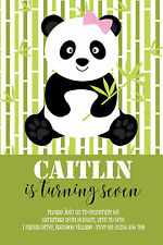10 PERSONALISED PANDA BIRTHDAY PARTY INVITATIONS - VARIOUS COLOURS AVAILABLE