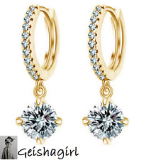 Elegant Gold Plated Hoop Womens Hoop CZ Gem Cuff Earring Ear Stud Hot UK Seller