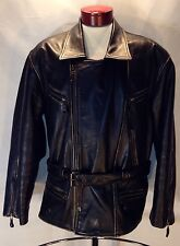C347 Men's First Black Leather Motorcycle Jacket Biker Thinsulate Size XL