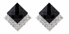 CLIP ON EARRINGS - silver plated earring with a black stone & crystals - Bess B