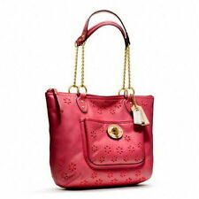 Coach Poppy Eyelet Small Tote Leather Chain Shoulder Bag Watermelon