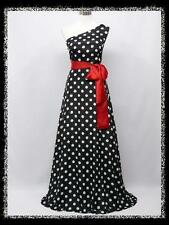 dress190 POLKA DOT CHIFFON ONE SHOULDER MAXI EVENING DRESS PROM GOWN DRESS 20