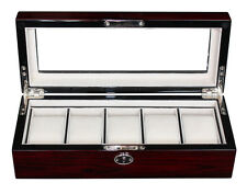 5 CHERRY WOOD ROSEWOOD LACQUER WATCH DISPLAY CASE GLASS TOP STORAGE BOX GIFT MEN