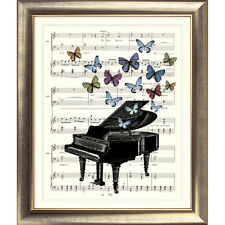 ART PRINT ORIGINAL VINTAGE MUSIC SHEET Page PIANO BUTTERFLIES Old Picture Poster