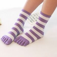 Girls Cotton Womens Girls Striped Five Fingers Toe Ankle Socks Mixed Colors