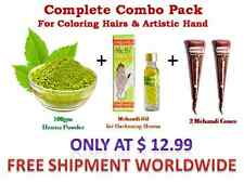 Combo Natural Herbal Henna Cones + Powder + Mehandi Oil for Temporary Tattoo Kit