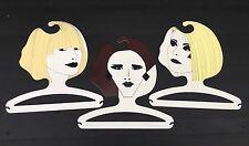 3 VINTAGE RETRO 1970s 80s NOVELTY ART COAT HANGERS CLOTHES SHOP DISPLAY MELB