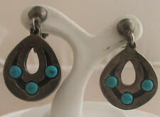 TAXCO F. Torres Sterling Silver Turquoise Screw Back Earrings