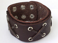 "BROWN WRISTBAND LEATHER BRACELET BOYS MENS  1.50"" wide  LB0183"