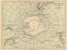 GEOGRAPHY MAP ILLUSTRATED ANTIQUE HACHETTE ANTARCTICA POSTER ART PRINT BB4323A