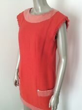 SALE. Authentic Chanel Coral Orange Tweed Sequined Dress Size 42 Runway