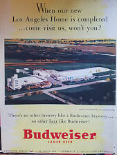 1954  Budweiser Beer Brewery Los Angeles Home Architects Drawing Original Ad