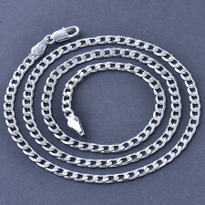 Cool 9K Silver/White Gold Filled Mens Womens Curb Cuban Chain Necklace 19.7 Inch