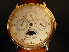 BLANCPAIN VILLERET PERPETUAL LEAP YEAR MOON PHASE 18K GOLD WATCH B&P