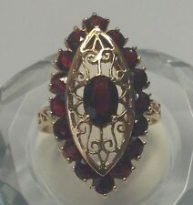 14k Yellow Gold Large Marquise Shaped Garnet Ring Size 9