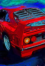 Automotive Motorsport Car Art.  1992 Ferrari F40 V-8 twin turbo large print