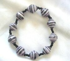 Recycled Paper Beads Stretch Bracelet Gray White Stripe & Black Accent  Uganda