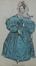 OLD ANTIQUE PRINT FASHION WALKING DRESS c1860's HAND COLOUR COSTUME ENGRAVING