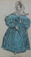 Old antique print mode robe marche la main de couleur C1860 Gravure Costume