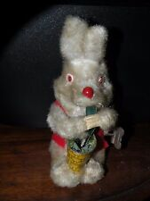 VINTAGE WIND-UP TIN RABBIT BUNNY EATING GRASS vegetables from bucket pail