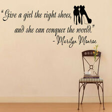 Wall Decals Marilyn Monroe Quote Give A girl The Right Shoes Vinyl Sticker Decor